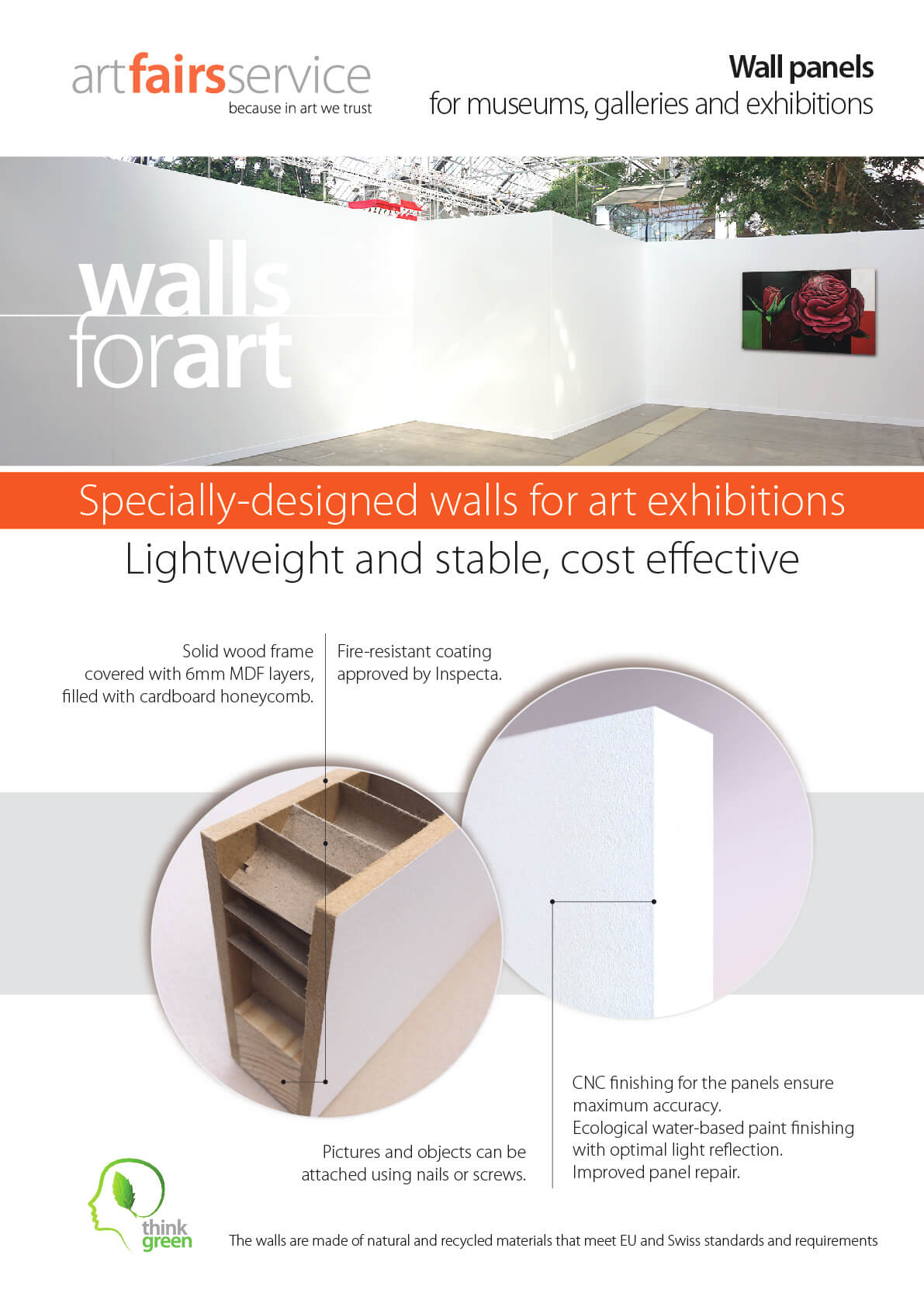 Wall panels for museums, galleries and excibitions